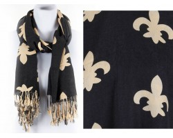 Black Gold Large Fleur De Lis Heavy Fringe Oblong Scarf