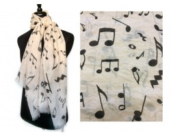 Taupe Black Music Notes Oblong Scarf