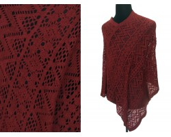 Burgundy Lace Poncho
