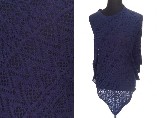 Navy Blue Lace Poncho