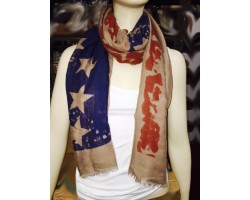 Old Red White Blue USA 28 Stars Stripes Oblong Scarf