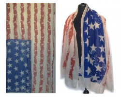 Brown Old Red White Blue USA 28 Stars Stripes Oblong Scarf