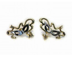 Gold Silver Mardi Gras Ribbon Mask Post Earrings