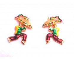Mardi Gras Umbrella Man Gold Post Earrings