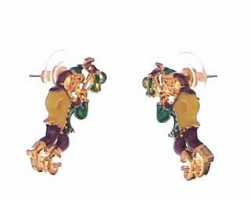Mardi Gras Clown Green Ribbon Earrings