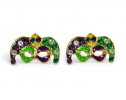Mardi Gras Crystal Mask Post Earrings