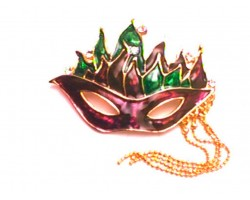 Purple Mardi Gras Mask Feathers Pin Brooch