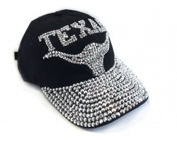 Crystal TEXAS Longhorn Black Baseball Cap