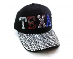 Red White Blue Crystal TEXAS Baseball Black Cap