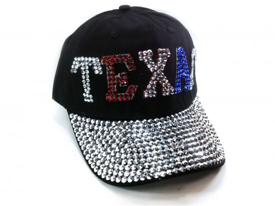 Red White Blue Crystal TEXAS Baseball Black Cap