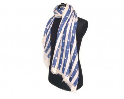 Blue White Stripe Stars Oblong Scarf