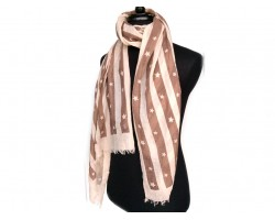 Brown White Stripe Stars Oblong Scarf