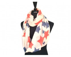 Red White Blue Stars Infinity Scarf
