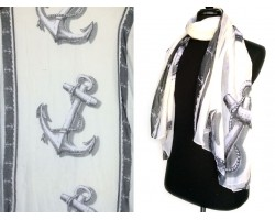 Black Ivory Anchors Oblong Scarf
