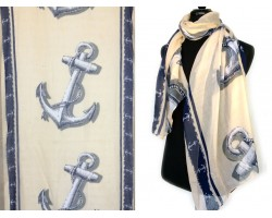 Navy Ivory Anchors Oblong Scarf