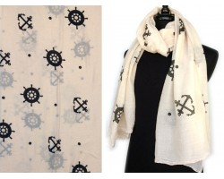 Beige Anchor Wheel Oblong Scarf