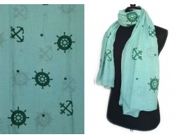 Green Anchor Wheel Oblong Scarf