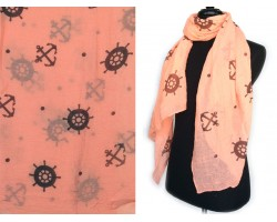 Peach Anchor Wheel Oblong Scarf