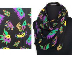 Black Mardi Gras Masks Feather Heavy Knit Scarf