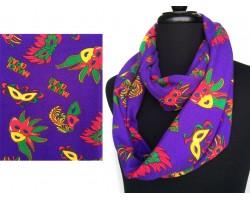 Purple Mardi Gras Masks Feather Heavy Knit Scarf
