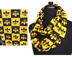 Black Gold Fleur De Lis Checker Jersey Knit Infinity Scarf