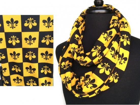 Black Gold Fleur De Lis Checker Jersey Knit Infinity Scarf