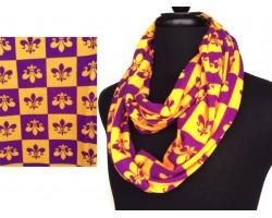 Purple Gold Fleur De Lis Checker Jersey Knit Infinity Scarf