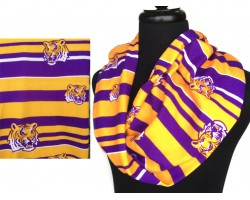 Purple Gold Tiger Jersey Knit Infinity Scarf