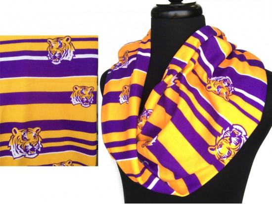 Purple Gold Tiger Jersey Knit Infinity Scarf