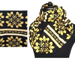 Black Gold Floral Fleur De Lis Jersey Knit Infinity Scarf