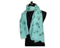 Light Green Sea Life Oblong Scarf