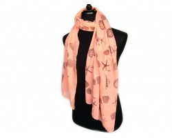 Peach Sea Life Oblong Scarf