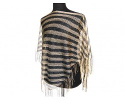 Black Gold Stripe Loose Knit Shimmer Fringe Poncho