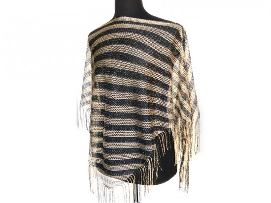 Black Gold Stripe Loose Knit Shimmer Fringe Poncho
