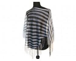 Black Silver Stripe Loose Knit Shimmer Fringe Poncho