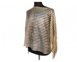 Black Gold Stripe Rectangular Knit Shimmer Fringe Poncho