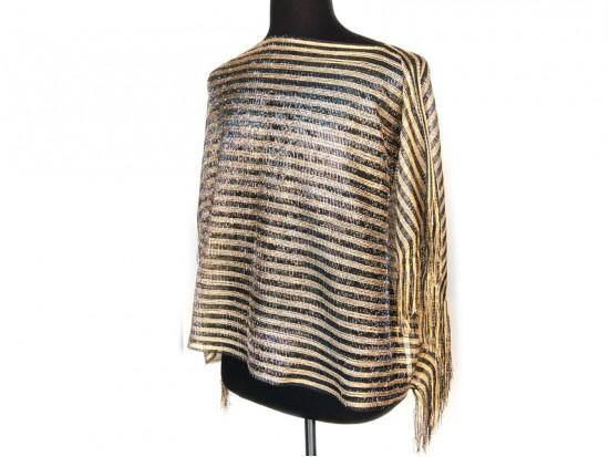 Black Gold Stripe Rectangular Knit Shimmer Fringe Poncho