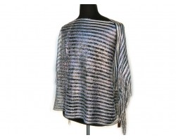 Black Silver Stripe Rectangular Knit Shimmer Fringe Poncho