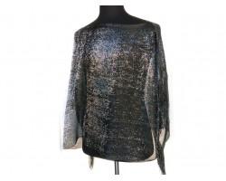 Black Rectangular Knit Shimmer Fringe Poncho