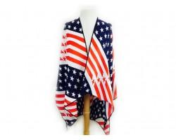 Red White Blue USA Stars Stripes Ruana Poncho
