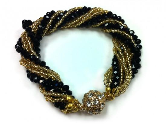 Black Gold Crystal Twist Bead Magnet Ball Bracelet