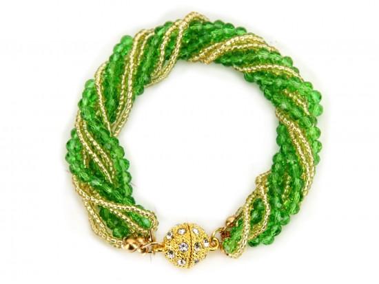 Green Gold Crystal Twist Bead Magnet Ball Bracelet