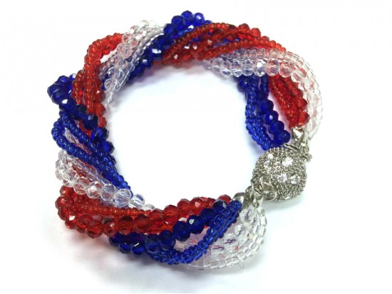 Red White Blue Crystal Twist Bead Magnet Ball Bracelet