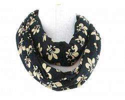 Black Gold Fleur de Lis Jersey Knit Infinity Scarf