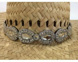 Crystal Teardrops Stone Stretch Hat Band