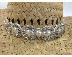 Pearl Crystal Teardrop Stones Stretch Hat Band