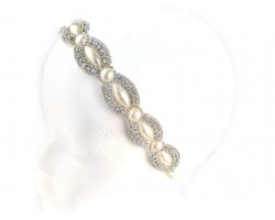 Pearl Crystal Marquise Round Stretch Headband