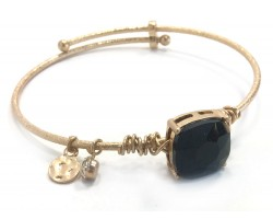 Black Jet Square Stone Wire Wrap Wire Gold Bracelet