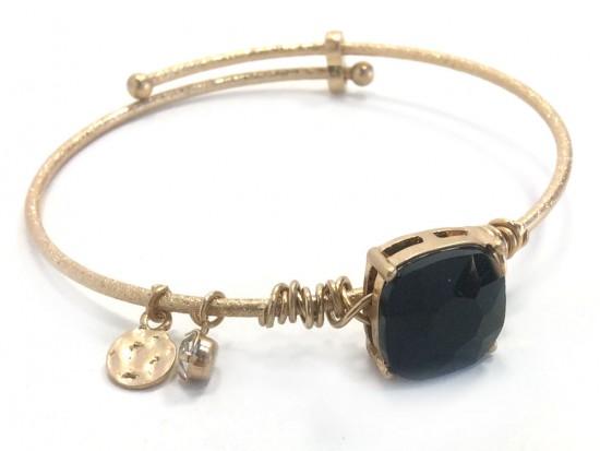 Black Jet Square Stone Wire Wrap Wire Gold Bracelet