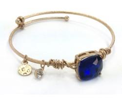 Blue Sapphire Square Stone Wire Wrap Wire Gold Bracelet